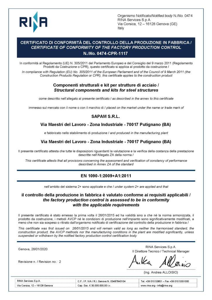 Certificato 0474-CPR-1117