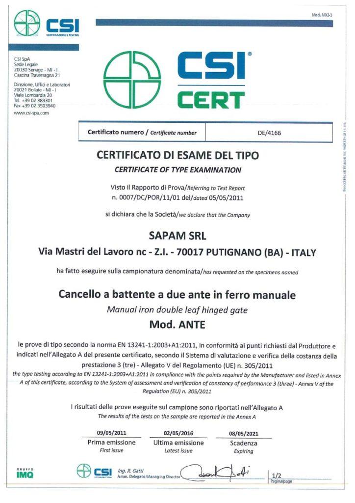 SCANSIONE CERTIFICATI 2016-1